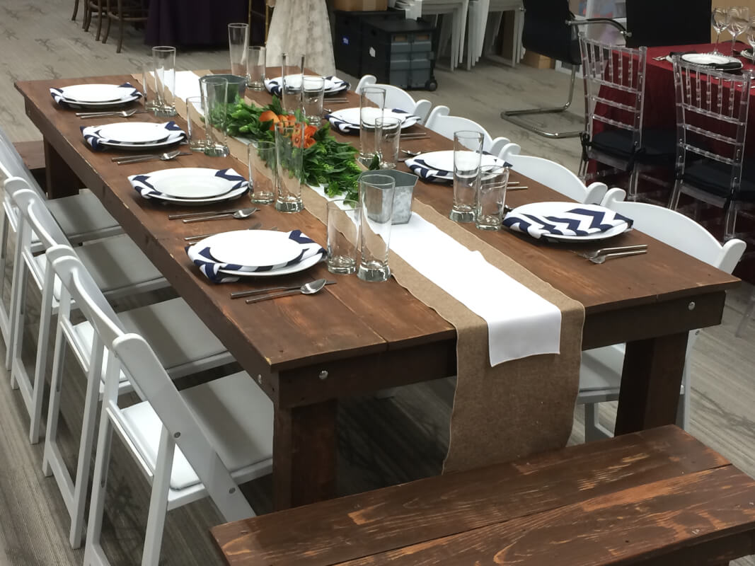 Wooden benches and tables for winter party